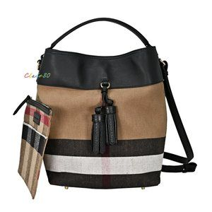 Burberry Medium Ashby Canvas Check & Leather Hobo